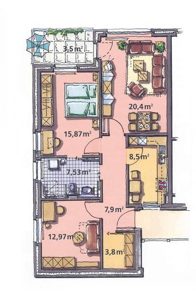 Grundriss wohnung 3 zimmer  3-Zimmer-Wohnung - Tönebön am Klüt - Wohnen im Tönebön
